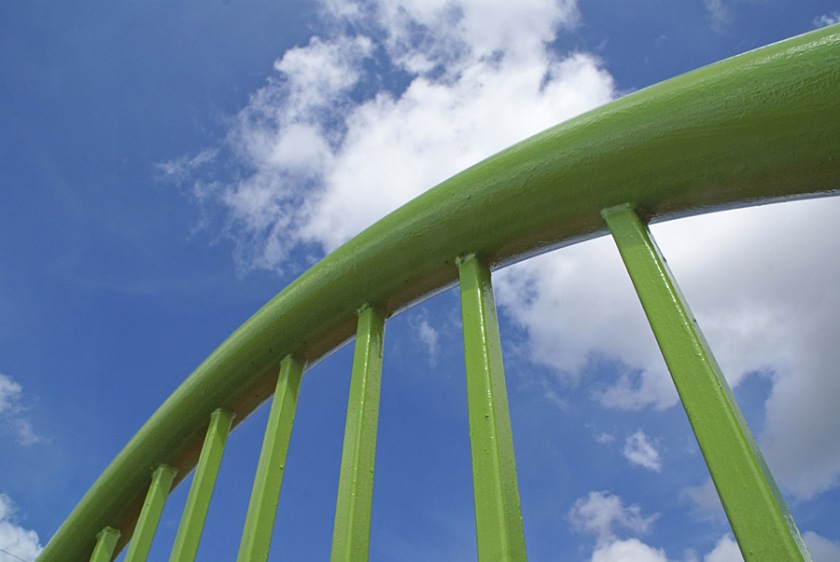 Green Fence and Blue Sky